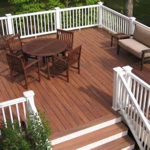 This composite deck has lots of bench seating