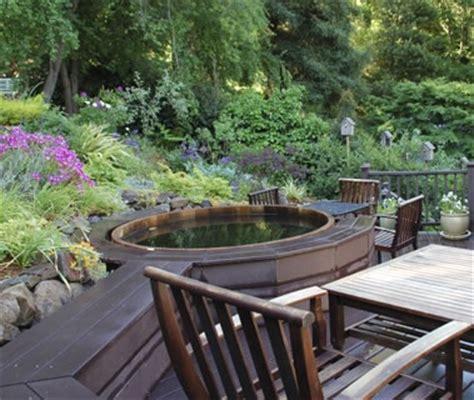 sloped backyard deck ideas deck hot tub and upward sloping yard landscaping gardening pinterest hot