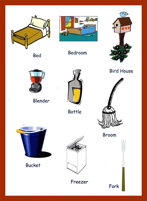 home items household items vocabulary for kids
