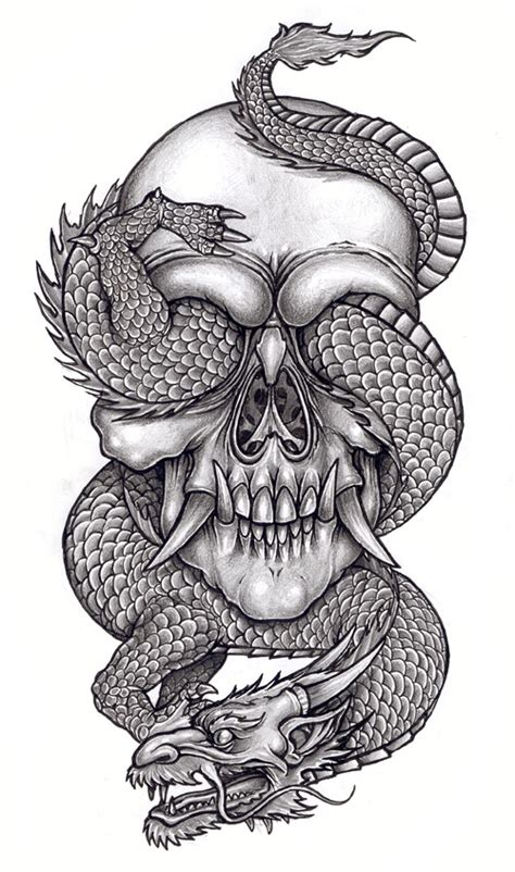 skull dragon tattoo designs skull and reptile 1 by tjiggotjurring on deviantart
