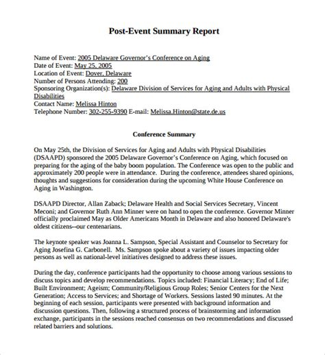 after event report template summary report template 8 free sles exles format