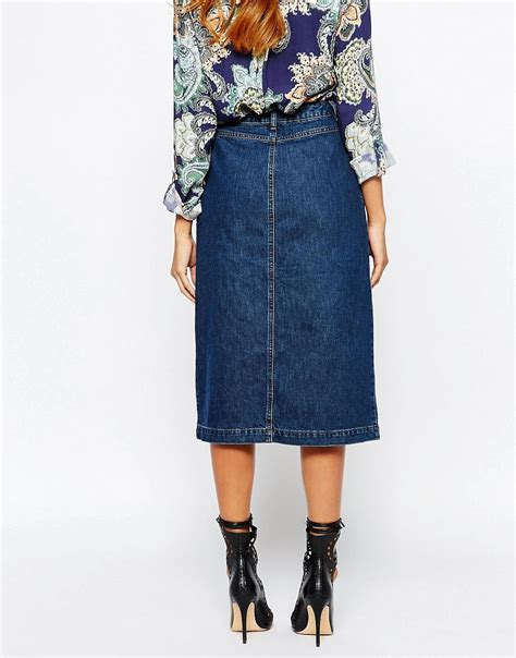 warehouse warehouse button through 70s midi denim skirt