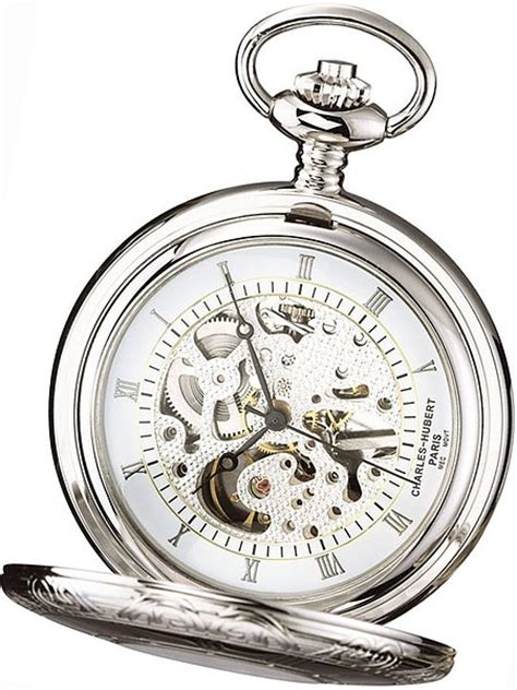 charles hubert mechanical silver tone pocket watch with