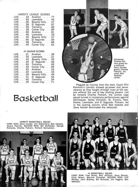 page 88 basketball yearbook 1961 lennox high