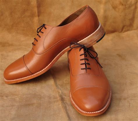 leather sole oxfords mens shoes handmade mens brown cape toe oxfords leather sole shoes