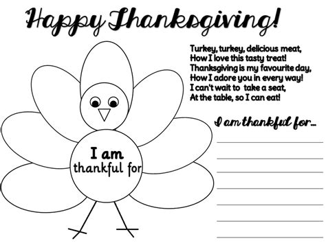 thankful turkey craft template enjoy teaching thanksgiving clipart poem