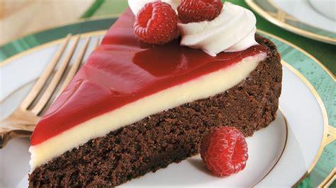 chocolate raspberry dessert raspberry glazed double chocolate dessert recipe from