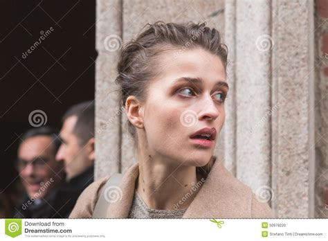 beautiful outside beautiful model outside trussardi fashion show building