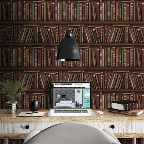 library wallpaper design uk fine decor red multi colour bookcase design bookshelf