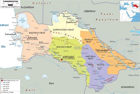 turkmenistan physical map map of turkmenistan 187 travel