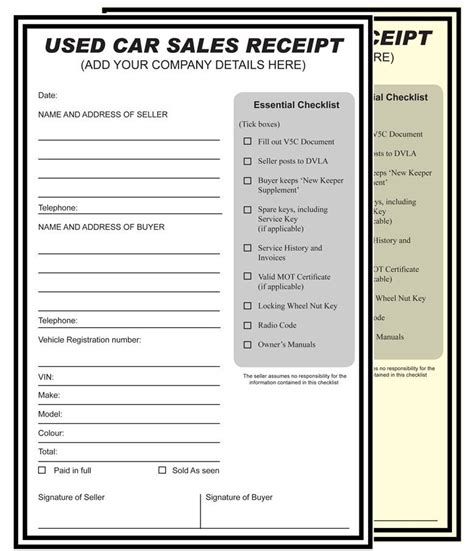 sale receipt template for cars car sales receipt cake ideas and designs
