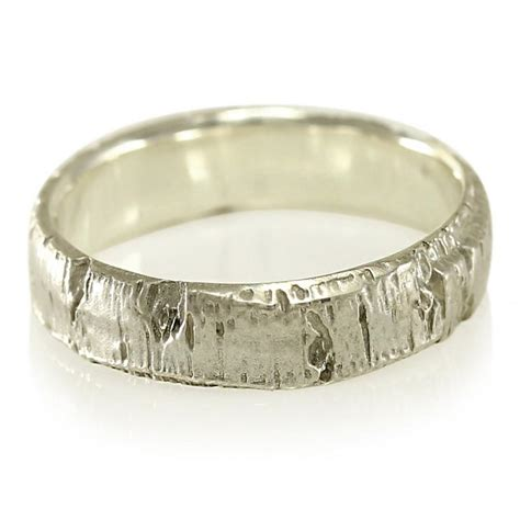 wood bark wedding ring aspen tree bark wedding band in recycled silver recycled
