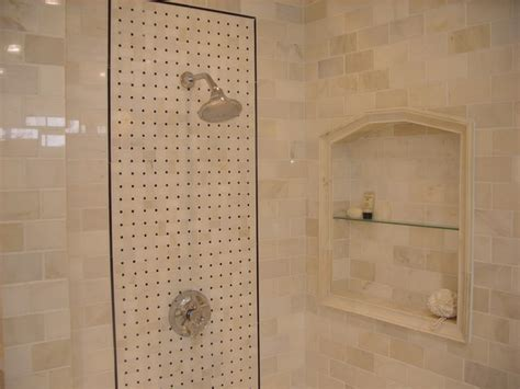 carrara marble subway tile shower w built in niche shabby chic style bathroom boston by