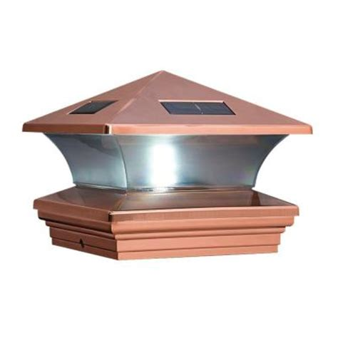 solar powered post caps home depot summit 6 in x 6 in copper and plastic solar post cap 129568 the home depot