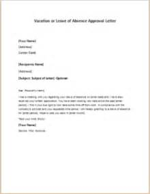 Thank You Letter Boss For Granting Leave vacation or leave of absence approval letter