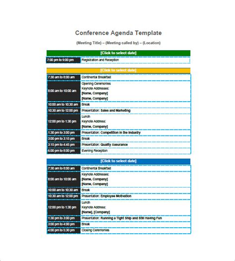 templates for agendas sle agenda planner template 8 free word excel pdf format