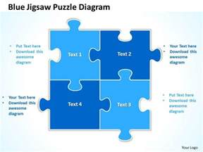blue jigsaw puzzle diagram powerpoint templates ppt