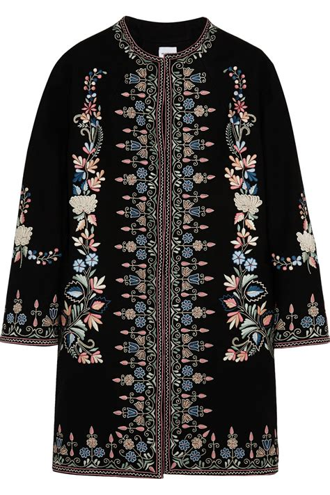 Flower Embroidered Woolen Coat Black White Size Ml vilshenko ililya embroidered felted wool coat in black lyst
