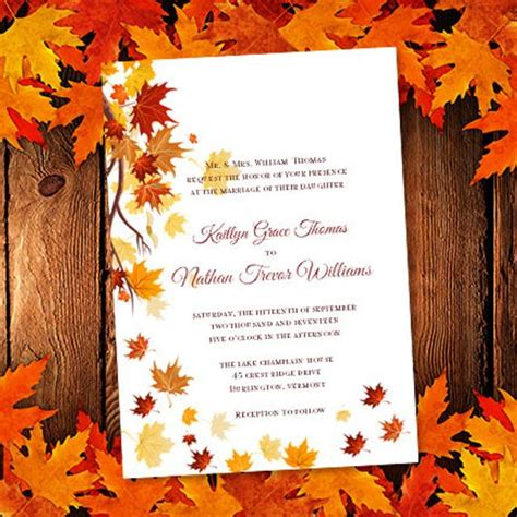 Fall Invitation Templates by Printable Wedding Invitation Template Falling By