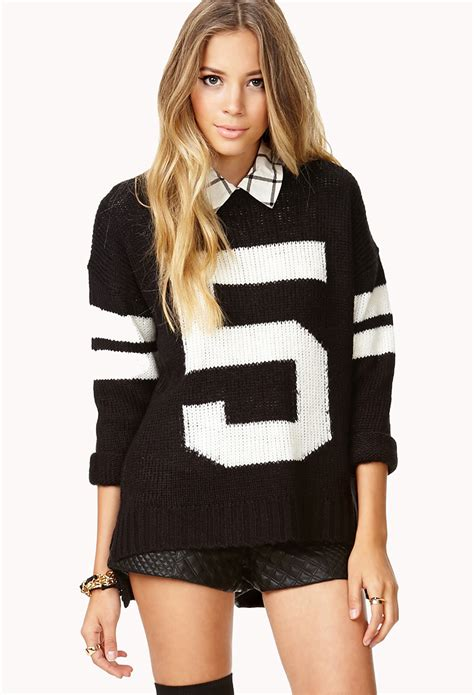 Sale Ht1282 32 Baseball Sweater forever 21 fresh oversized varsity sweater in black lyst