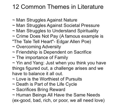 literary themes list pdf 2 common literature themes writing stuff pinterest