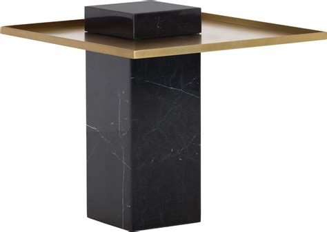 black and gold table verona black marble and gold end table from sunpan