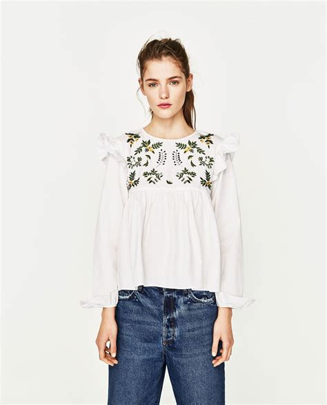 Zara Trafaluc Green Flower Dress zara shirt with embroidered flower 2017