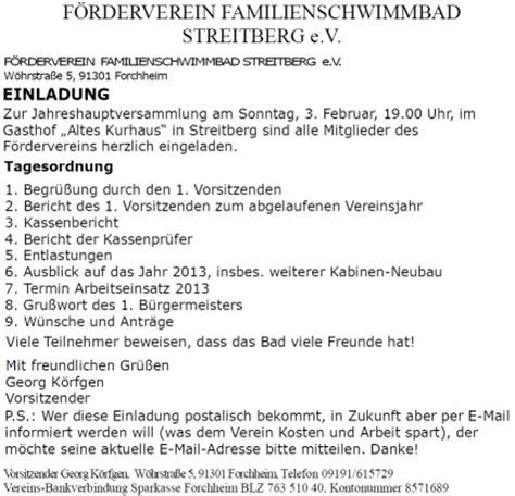 Muster Einladung Zur Jahreshauptversammlung Verein Familienschwimmbad Streitberg