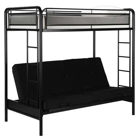 Black Futon Bunk Bed Futon Metal Bunk Bed In Black 4105019
