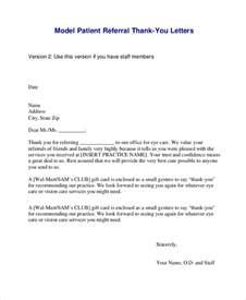 patient referral letter template customer referral thank you letter sles docoments