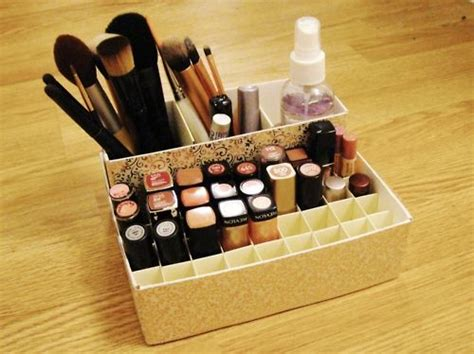 diy makeup organizer image of cheap makeup storage ideas recycled cereal and oatmeal boxes turned into makeup and