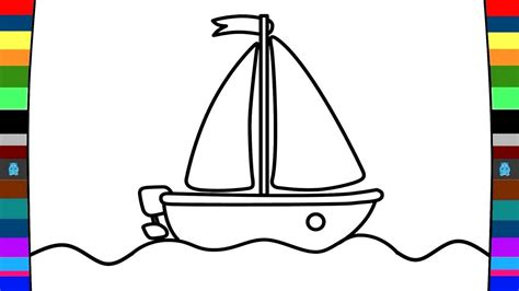 cartoon boat color how to draw and colour a boat art of coloring for kids