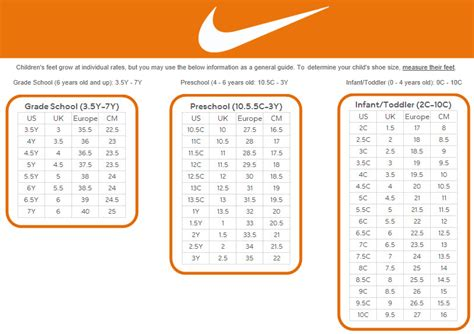 nike shoes size chart nike youth sneakers size chart vcfa