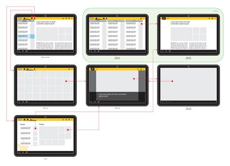 android layout large land tablet putting it all together wireframing the exle app