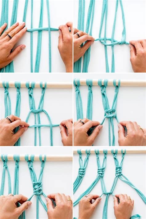 How To Make A Macrame Knot - use 4 strips of fabric to tie each knot on your wall