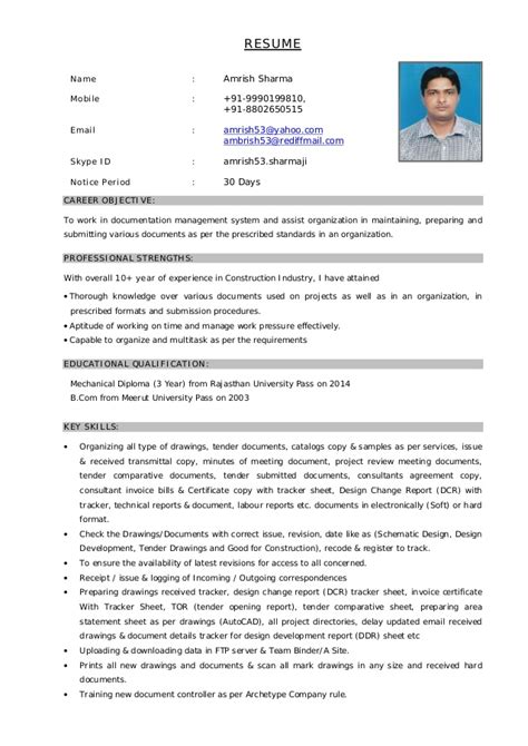 Best Example Of Resume Format by Resume For Document Controller Post