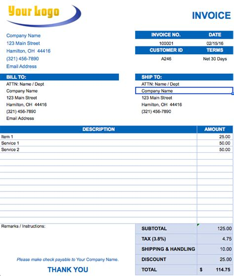 project invoice template invoice template 2017