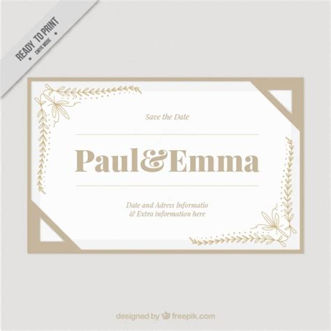 Wedding Card Ornaments by Wedding Card With Ornaments In The Corners Vector Free