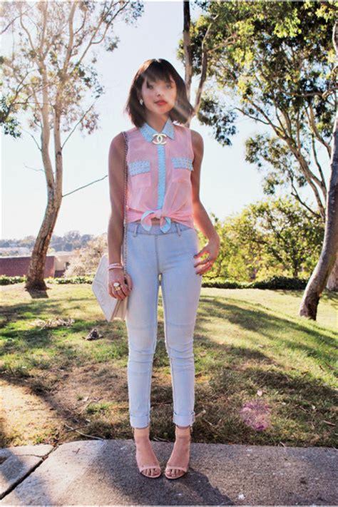 Ivnuo Lightblue light pink blouse stud papaya clothing shirts light blue