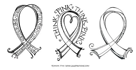 coloring page of breast cancer ribbon think pink free downloadable coloring pages zenspirations