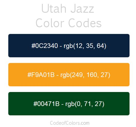 utah jazz colors hex and rgb color codes