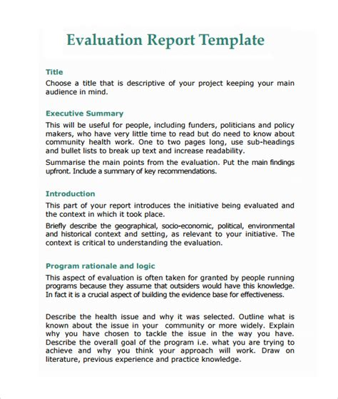 how to write a work report template sle evaluation report 11 documents in pdf word