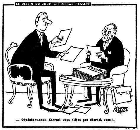 Karikatur 4d caricature de faizant sur les relations de gaulle adenauer