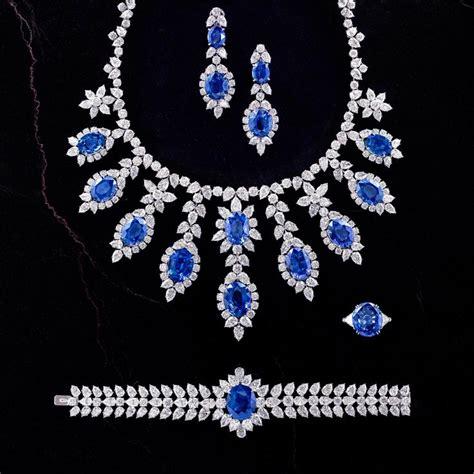 Jewellery   Chatila Diamond & Sapphire Necklace, Bracelet, Ring & Earrings   Elie Chatila