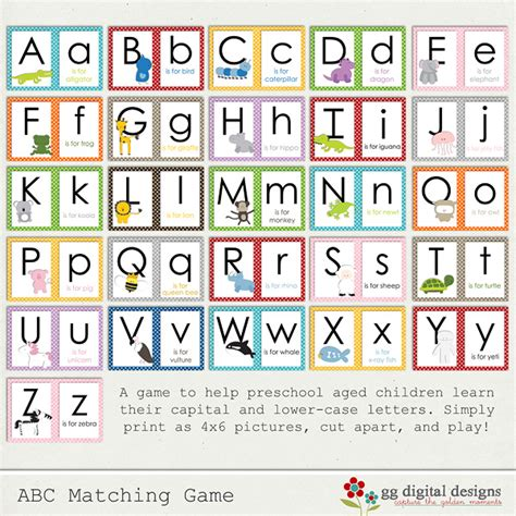 Printable Alphabet Memory Game | 7 best images of printable alphabet matching game