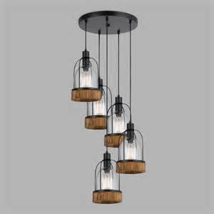Pendant Lights Industrial Wood And Glass Industrial Staggered 5 Light Pendant L World Market