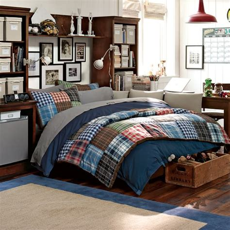 bedding for rooms patch plaid quilt sham pbteen