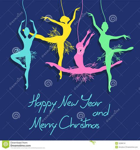 new year dancers and new year card with ballet dancers stock