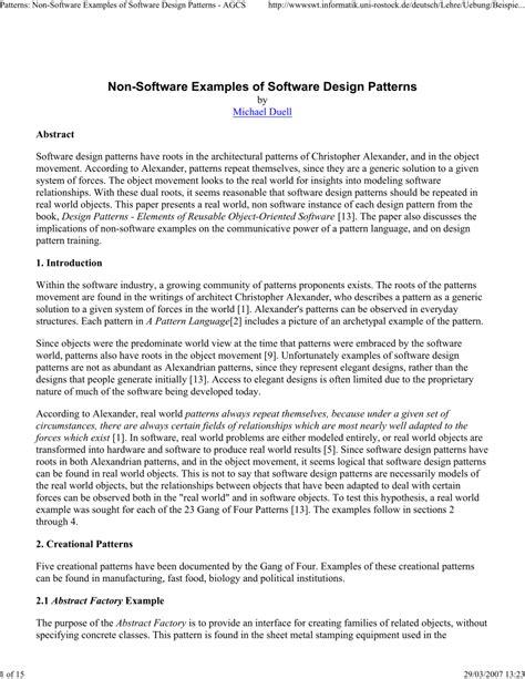 software design pattern exles non software exles of software design patterns pdf