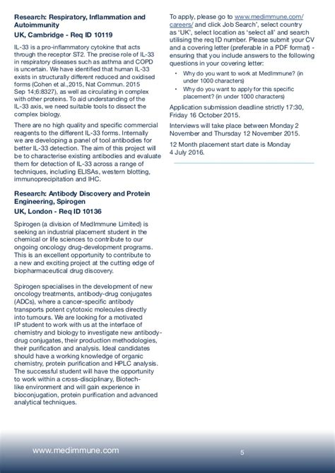 industrial placement cover letter medimmune industrial placement student programme 2016